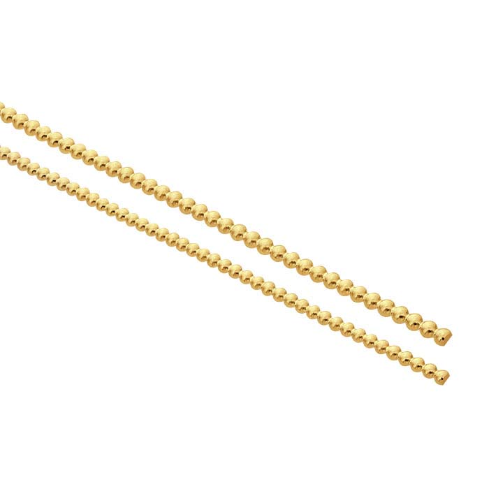 14K Yellow Gold 1.3mm Half-Bead Wire, Dead-Soft