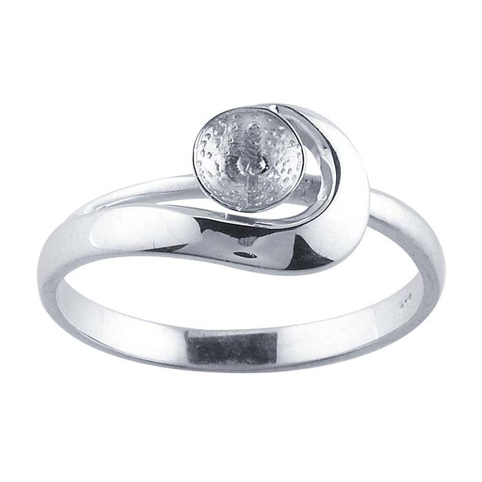 Sterling Silver Rhodium-Plated Pearl Ring Mounting