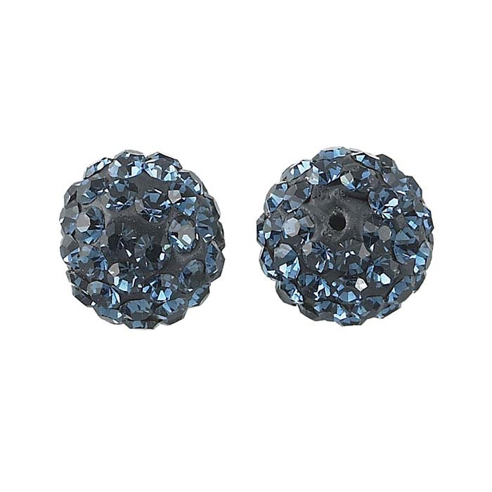 Handcrafted Clay 8mm Round Montana Crystal-Set Bead