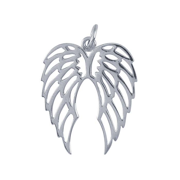 Sterling Silver Open Double Angel Wings Pendant