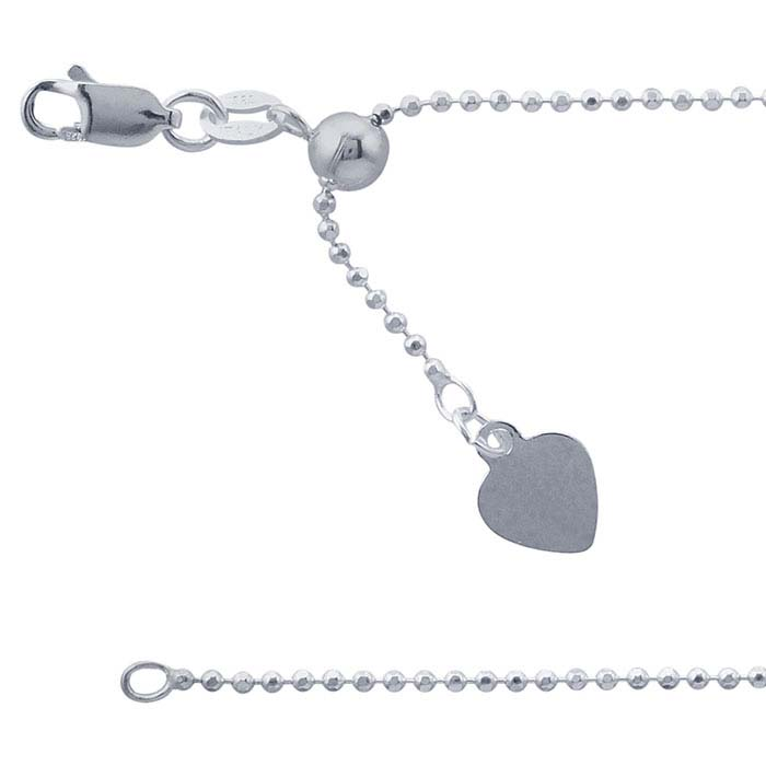 8b484238a9ec3 Sterling Silver 1.5mm Adjustable Diamond-Cut Bead Chain Necklace