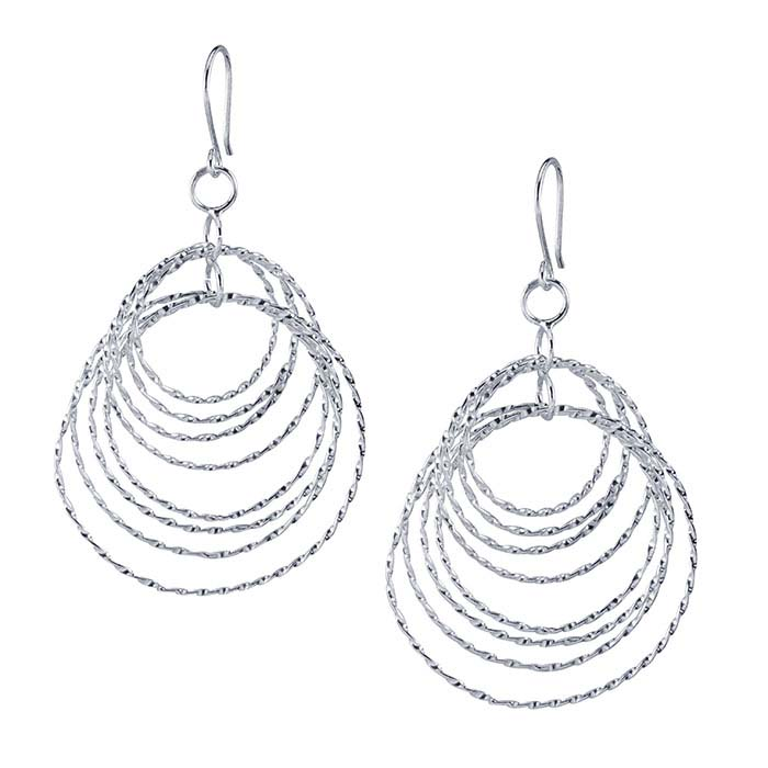 Concentric Circle Earrings: Sterling Silver Twist Wire Double-Concentric Circles Earrings
