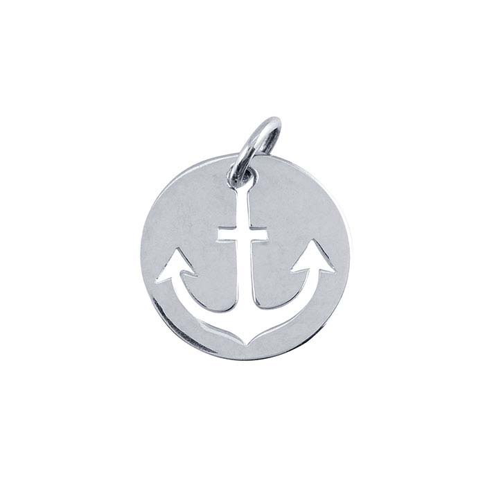 Sterling Silver Anchor Cut-Out Round Charm