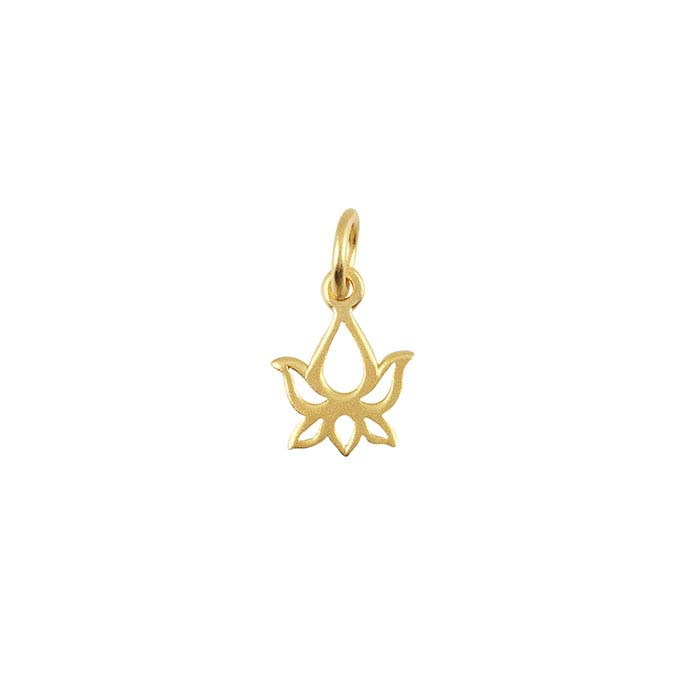 24K Heavy Yellow Gold-Plated Sterling Silver Lotus Blossom Charm