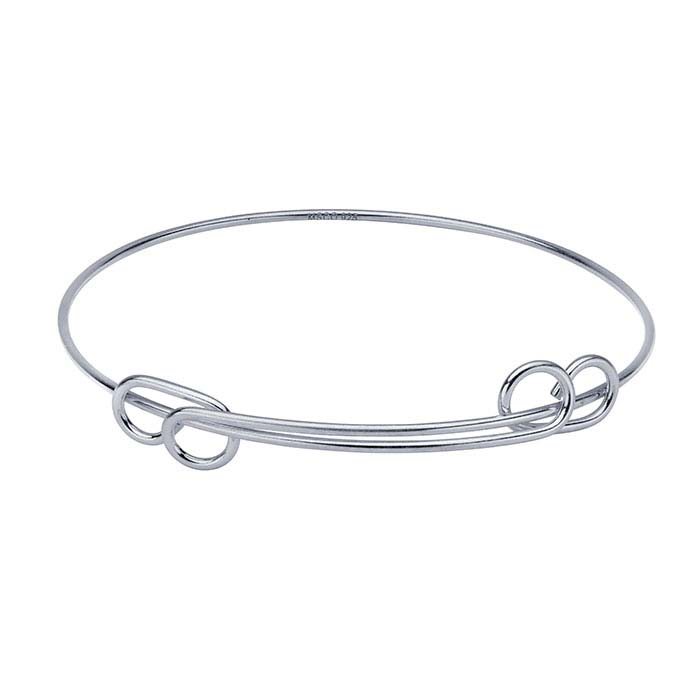 Sterling Silver Expandable Charm Holder Bangle Bracelet