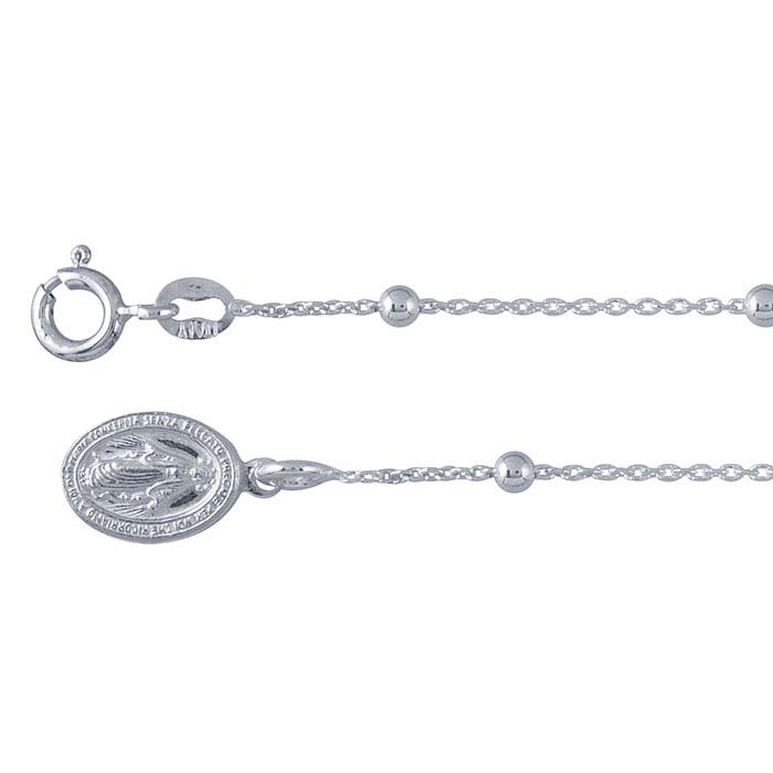 Sterling Silver 1.6mm Beaded Cable Chain Bracelet with Miraculous Medal