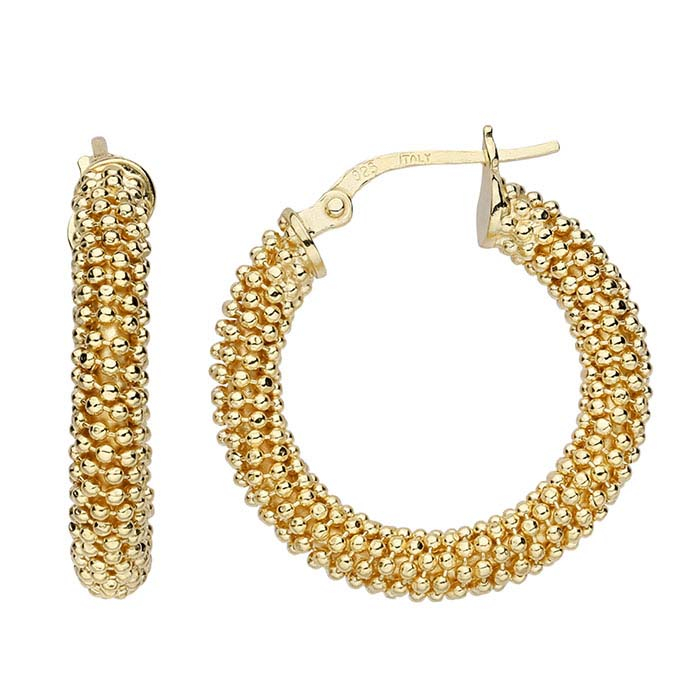 Sterling Silver Yellow Gold-Plated Beaded Hoop Earrings