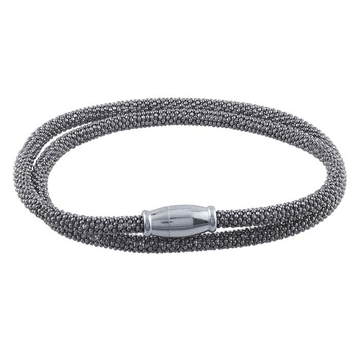 Sterling Silver Black Ruthenium-Plated Beaded Double-Wrap Bracelet