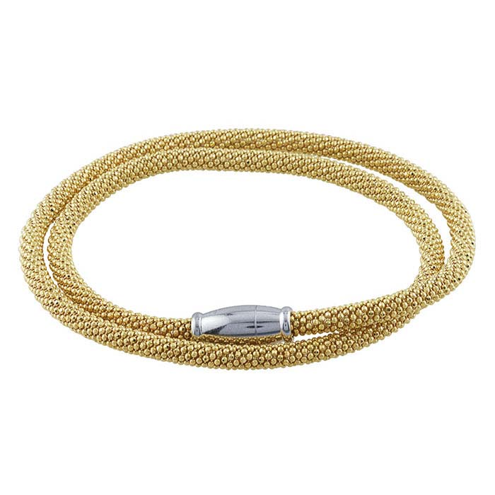 Sterling Silver Yellow Gold-Plated Beaded Double-Wrap Bracelet