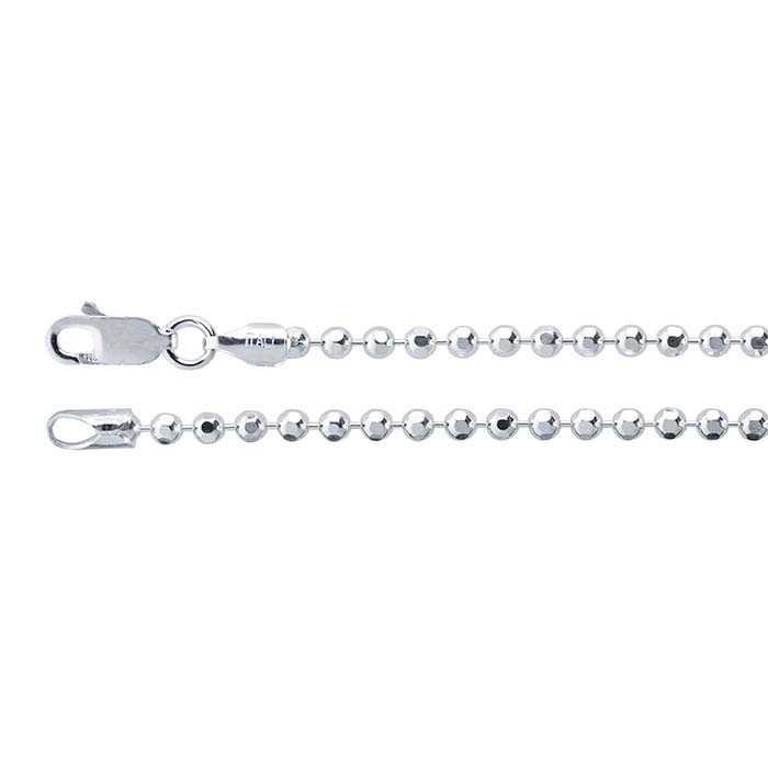 Sterling Silver 2.5mm Diamond-Cut Bead Chain