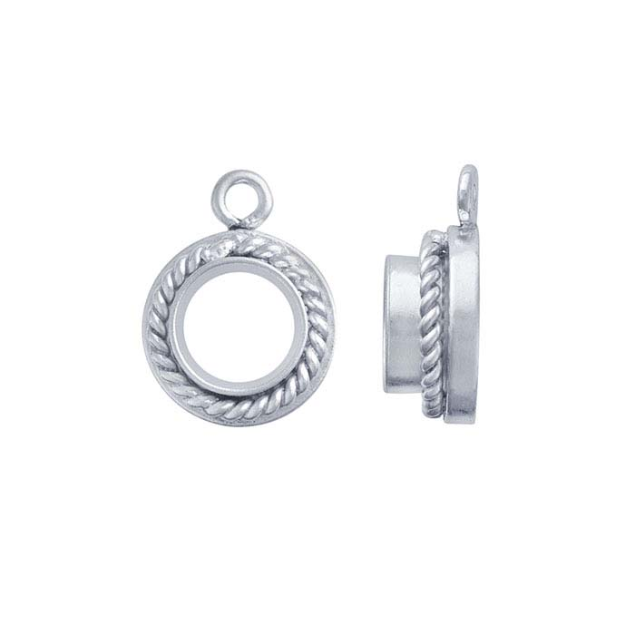 Sterling Silver 4mm Round Rope-Edge Bezel Component Mounting