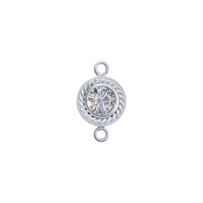 Sterling Silver CZ-Set Round Rope-Edge Link Component