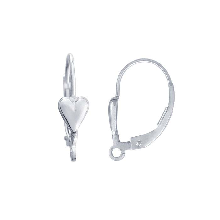 Sterling Silver Heart Lever-Back Ear Wire with Open Ring
