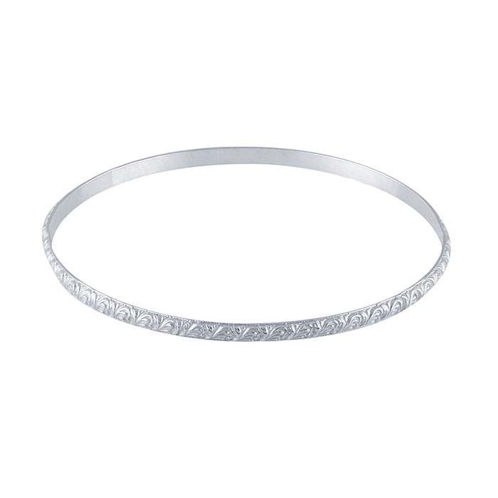 Sterling Silver Pattern Wire Bangle Bracelet
