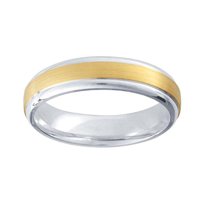 ArgentiumR Silver 5mm Wedding Bands With 14K Yellow Gold Center