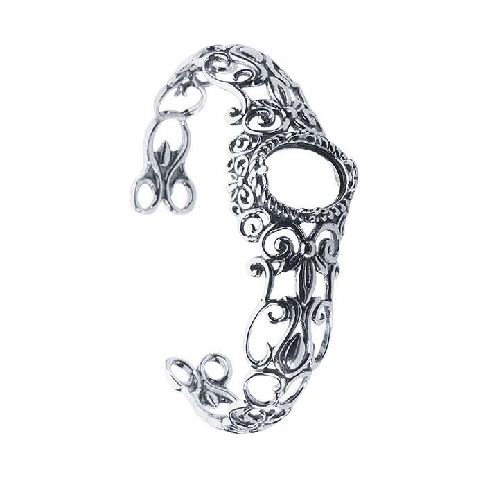 Sterling Silver 16 x 12mm Oval Filigree Cuff Bracelet Mounting