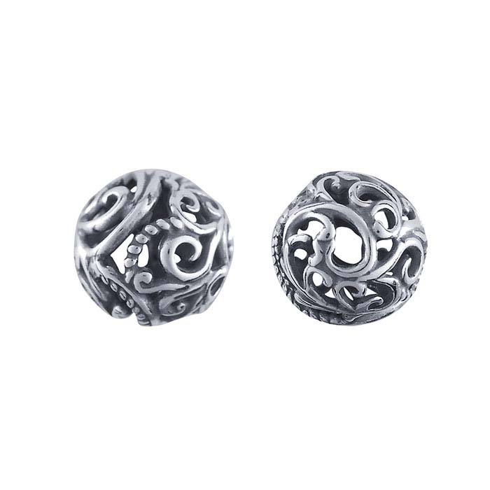 Sterling Silver 10mm Round Swirls Bead