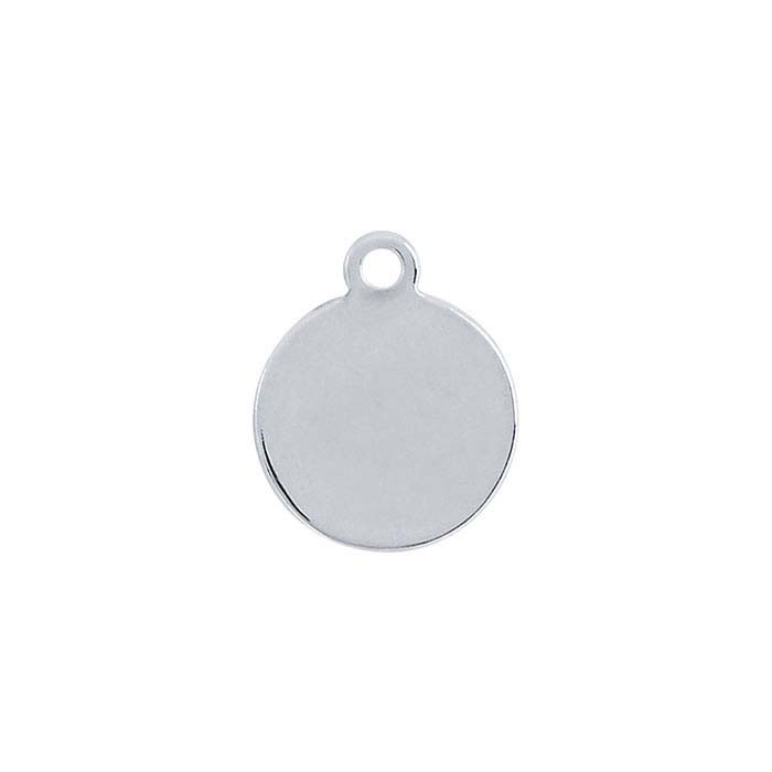 Sterling Silver 11.1 x 9.2mm Round Tag, 20-Ga.