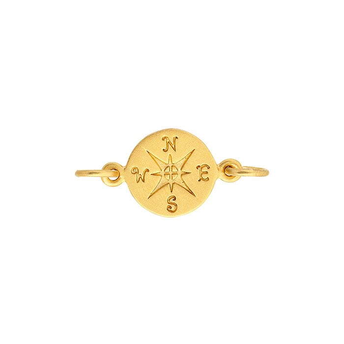 24K Heavy Yellow Gold-Plated Sterling Silver Compass Rose Link Component
