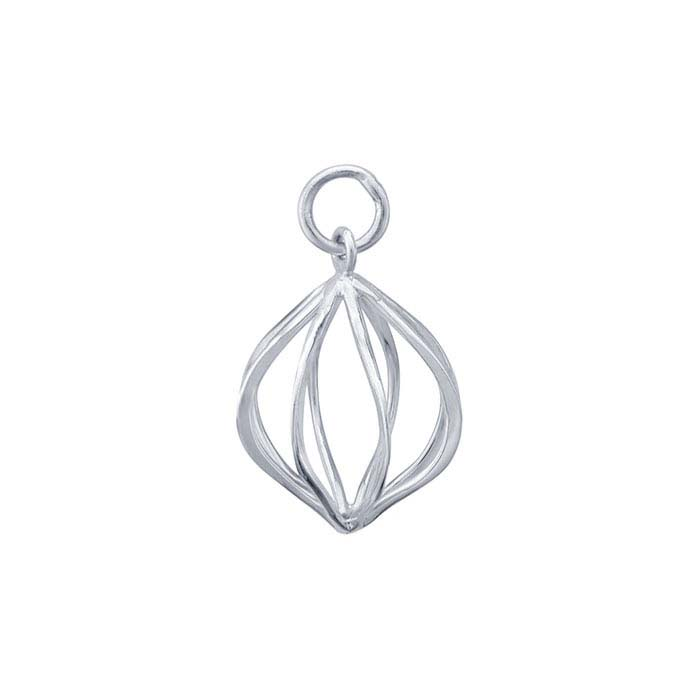Sterling Silver Wire Cage Charm