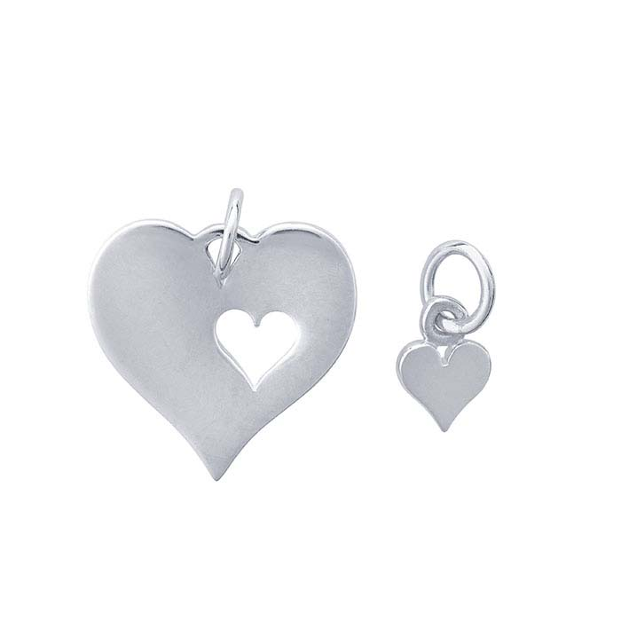 Sterling Silver Mother and Daughter Heart Charm Set