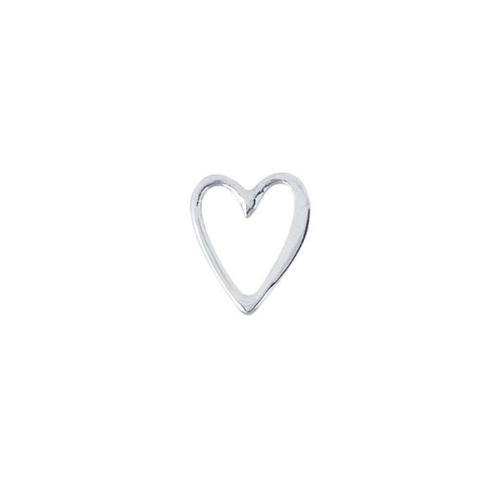 Sterling Silver Open Heart Component for Floating Glass Lockets