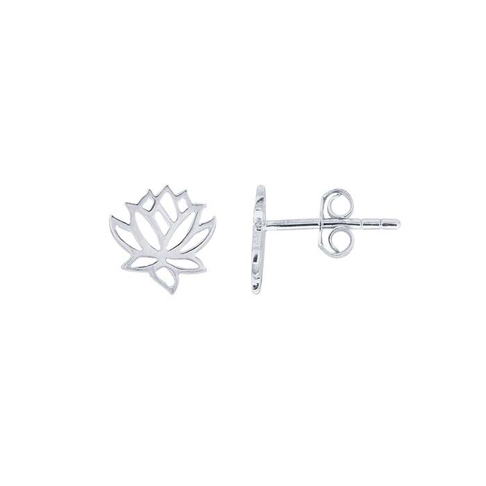 Sterling Silver Open Lotus Blossom Post Earrings