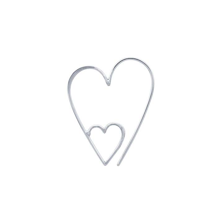 Sterling Silver Double Open Heart Ear Wire
