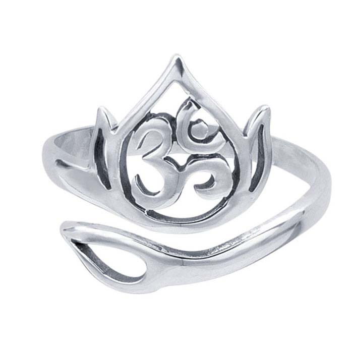 Sterling Silver Lotus Leaf Bypass Ring, Adjustable