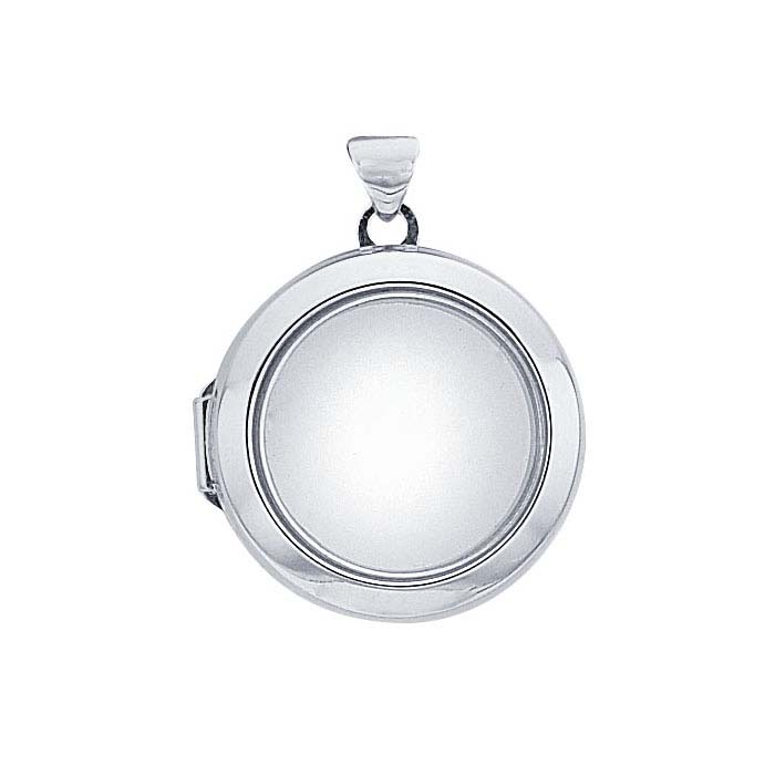 Sterling Silver Rhodium-Plated Round Floating Glass Locket Pendant