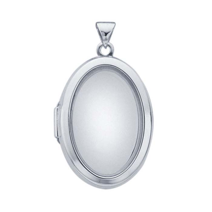 d4856432d Sterling Silver Rhodium-Plated Oval Floating Glass Locket Pendant