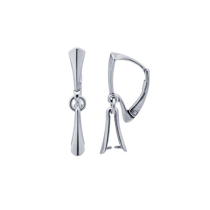 Sterling Silver Lever-Back Ear Wire with Pinch Mounting