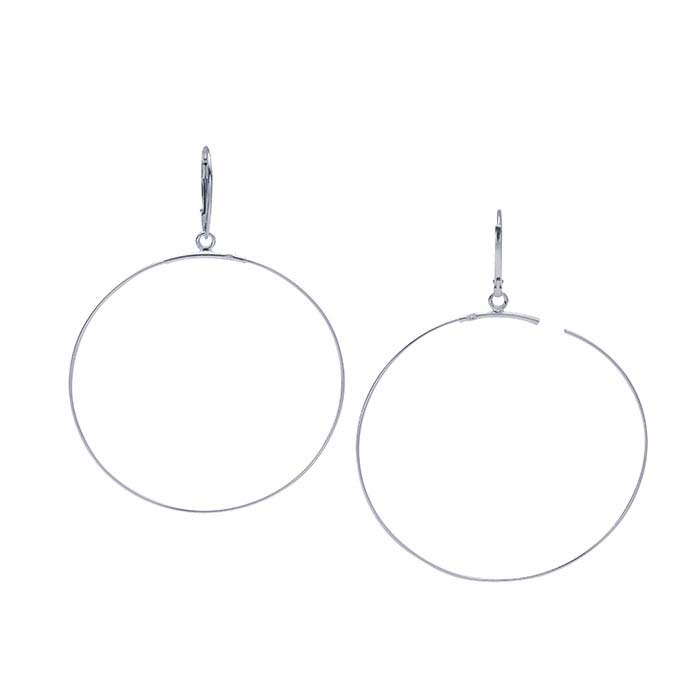 Sterling Silver Lever-Back Ear Wire with Beading Hoop