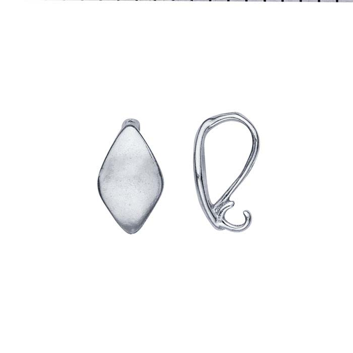 Sterling Silver Diamond-Shaped Pendant Bail with Hidden Loop