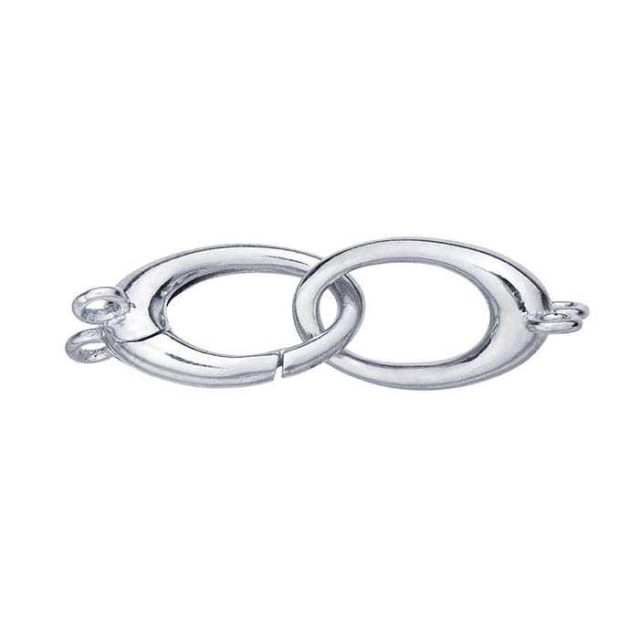 Sterling Silver Rhodium-Plated Oval Push Clasp, 2-Strand