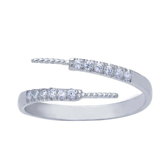 Sterling Silver Rhodium-Plated CZ-Set Bypass Pearl Ring Mounting
