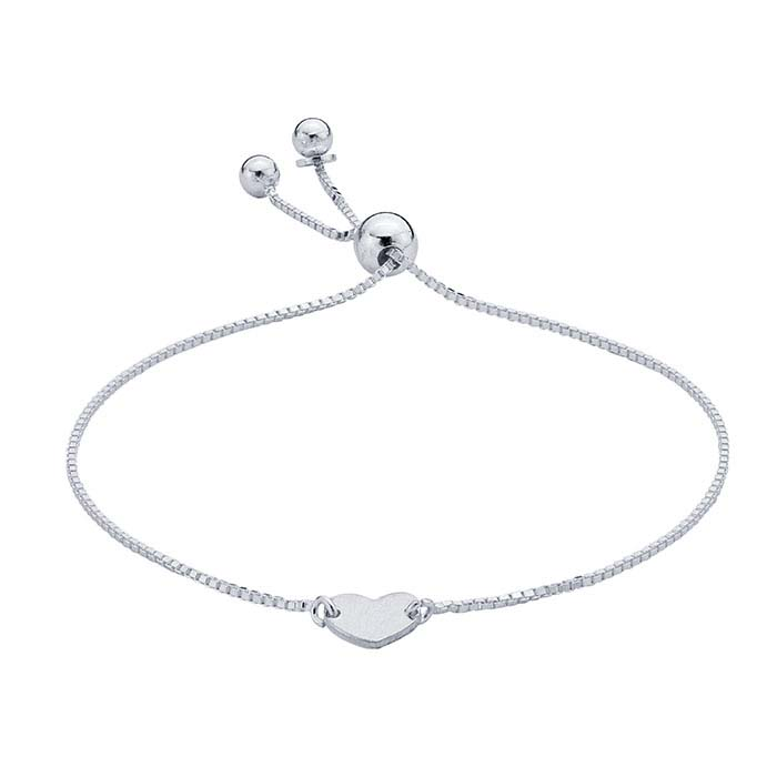 Sterling Silver Bracelet with Heart Plaque, Adjustable