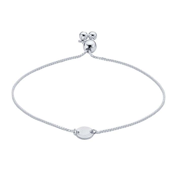 Sterling Silver Bracelet with Round Plaque, Adjustable