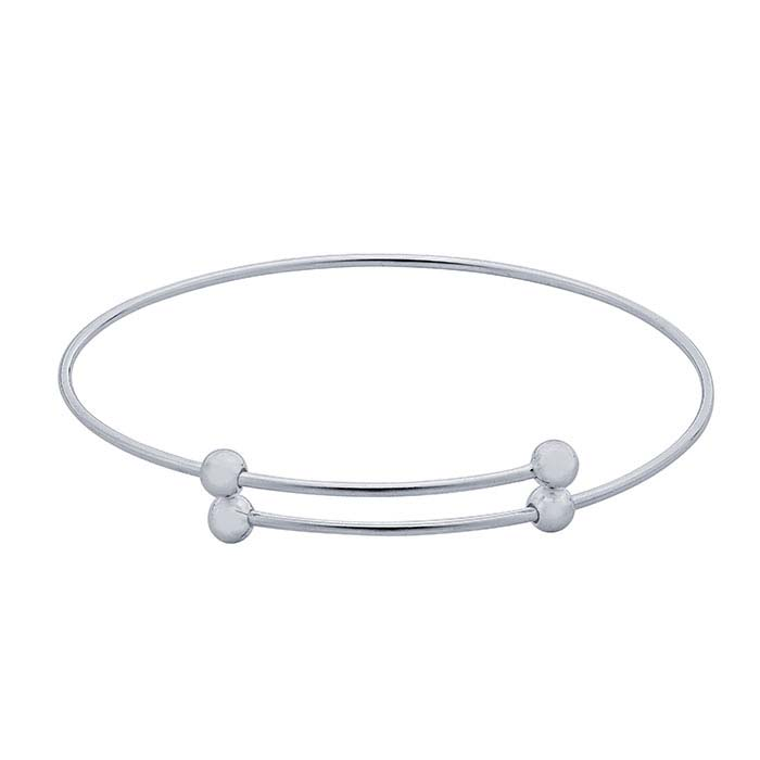 Sterling Silver Expandable Bangle Bracelet with Ball Ends