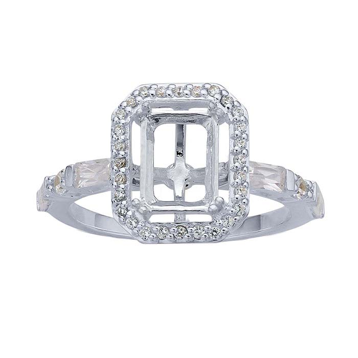 Sterling Silver 8 x 6mm Octagon Semi-Mount Engagement Ring Mountings