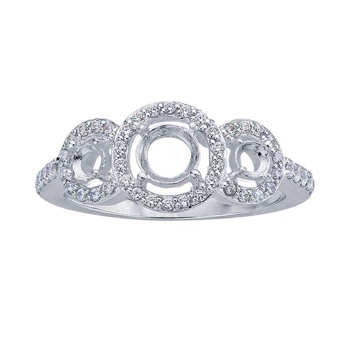 Sterling Silver Three-Stone Semi-Mount Engagement Ring Mountings