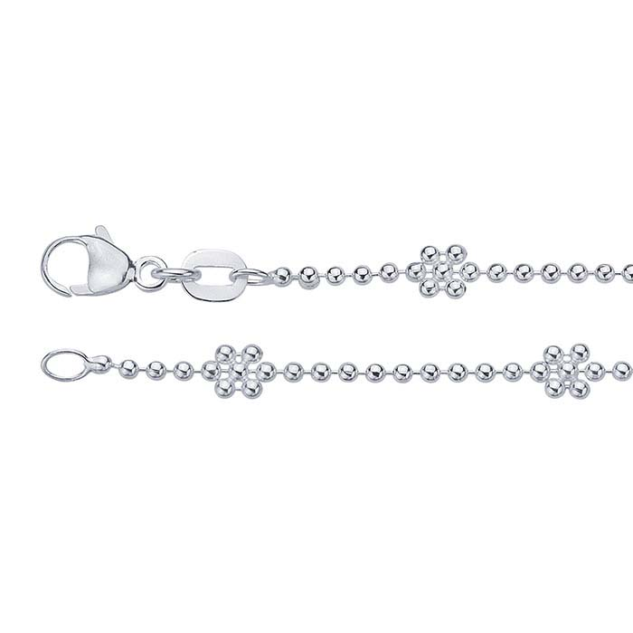 Sterling Silver Alternating Daisy Bead Chains