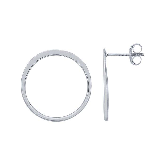 Sterling Silver Open Circle Post Earrings