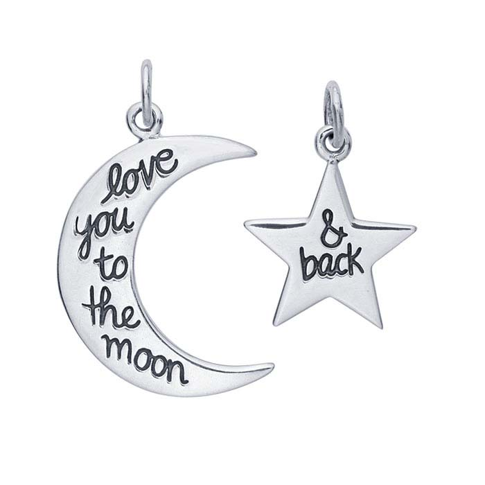 "Sterling Silver ""Love You to the Moon and Back"" Moon and Star Pendant Set"