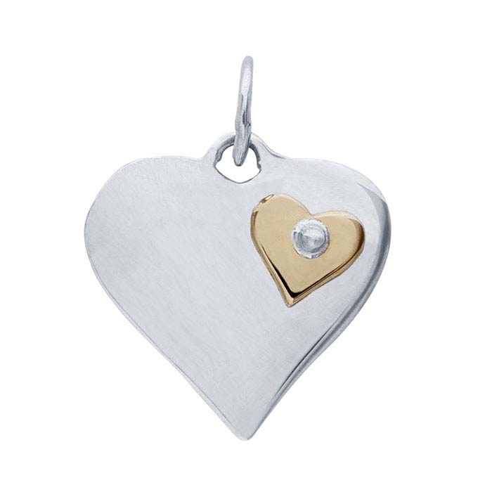 Sterling Silver Heart Charm with Bronze Riveted Heart Accent