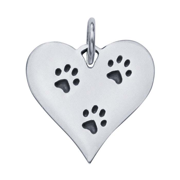 Sterling Silver Etched Paw-Prints Heart Charm