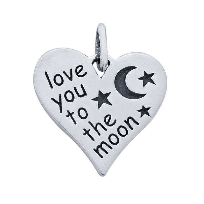 "Sterling Silver ""Love You to the Moon"" Heart Charm"