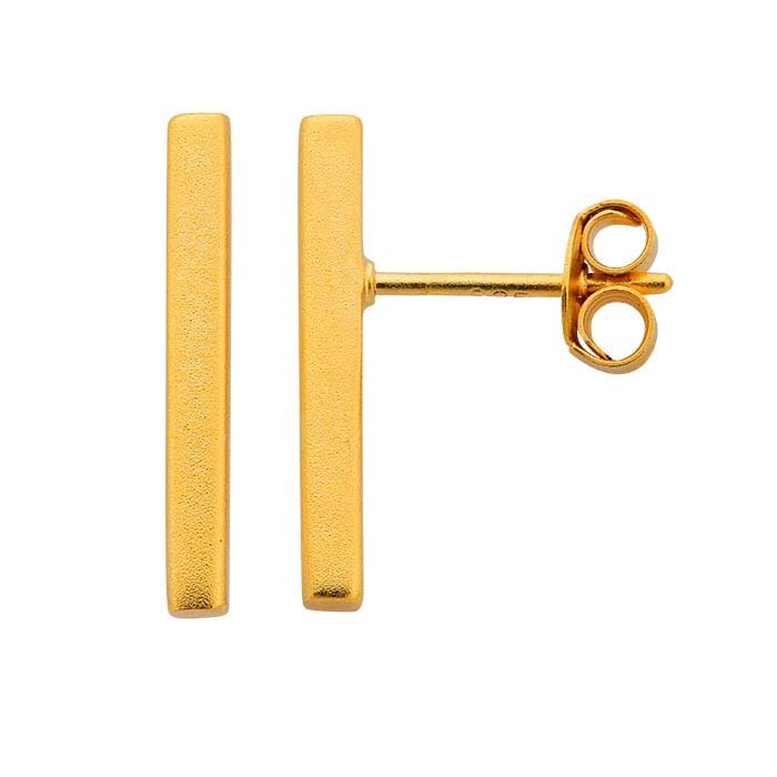 24K Heavy Yellow Gold-Plated Sterling Silver Rectangle Bar Post Earrings