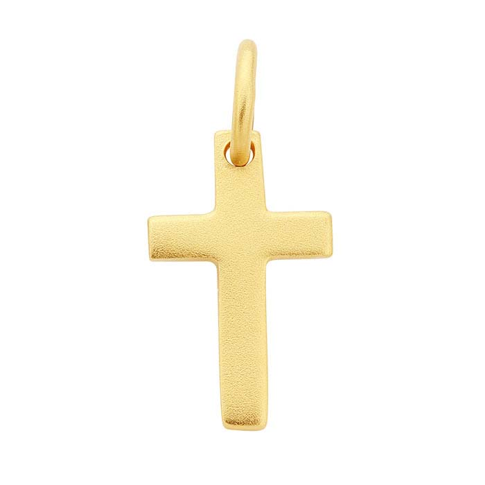 24K Heavy Yellow Gold-Plated Sterling Silver Cross Charm