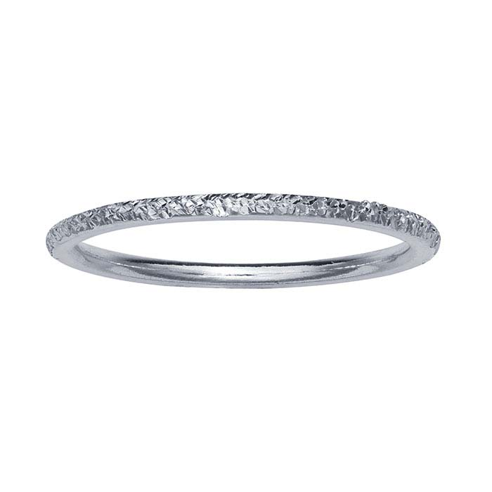 Sterling Silver Diamond-Cut Flat-Wire Stackable Rings